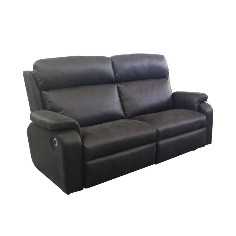 sofá modelo Trafic 2 plazas con 2 Relax eléctricos + 2 USB color negro