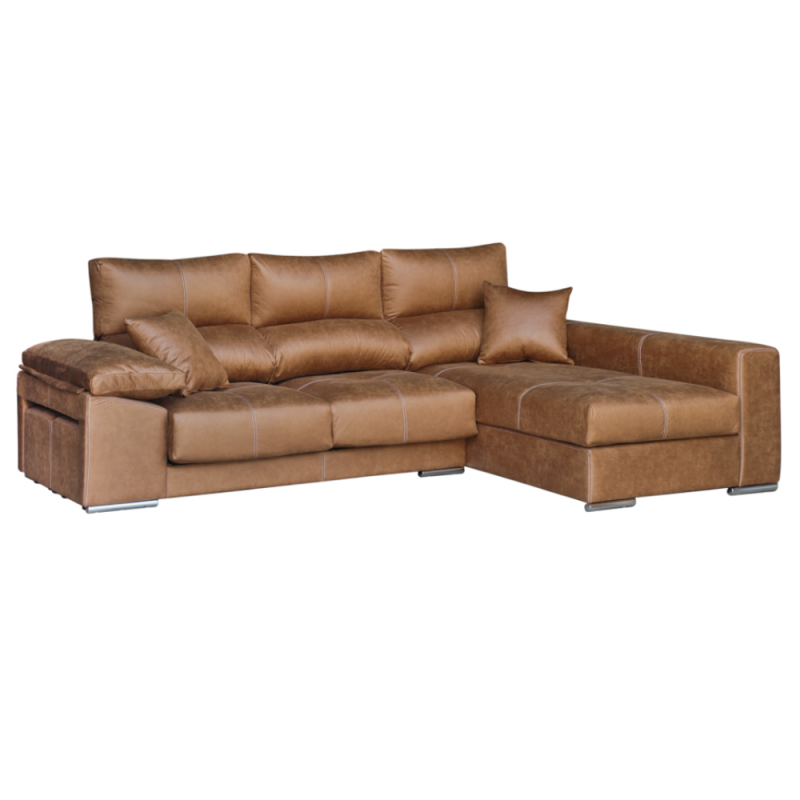 3 plazas con 2 extensibles + 2 pufs + chaise longue
