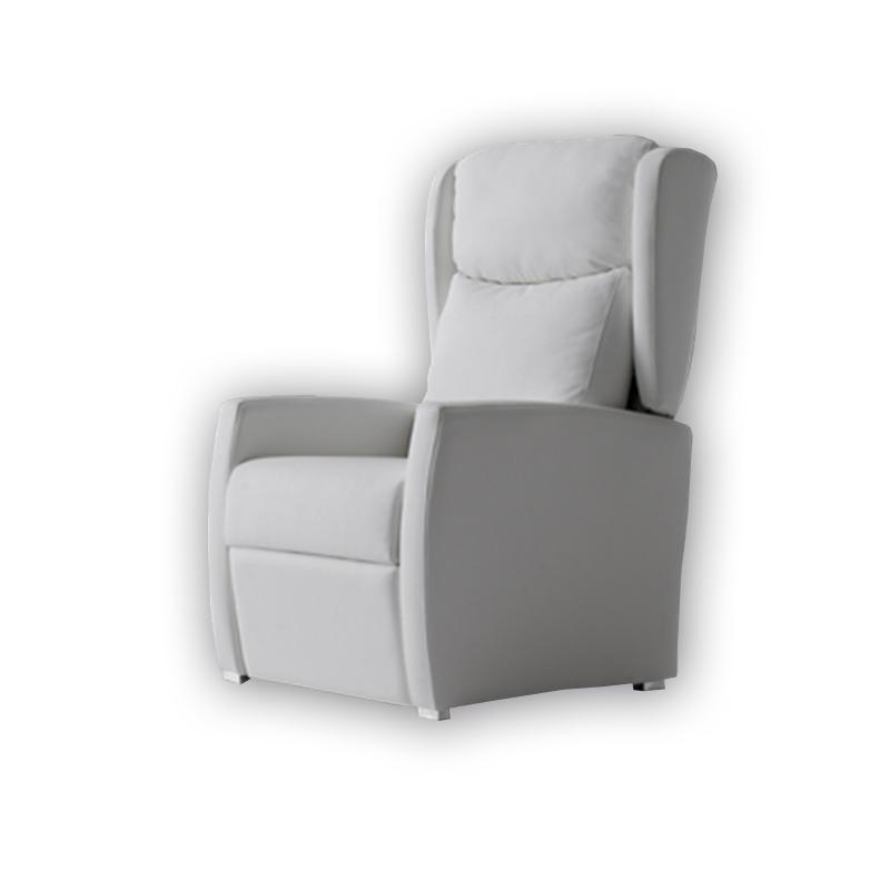 Sillón orejero con sistema relax modelo Caven de color blanco.