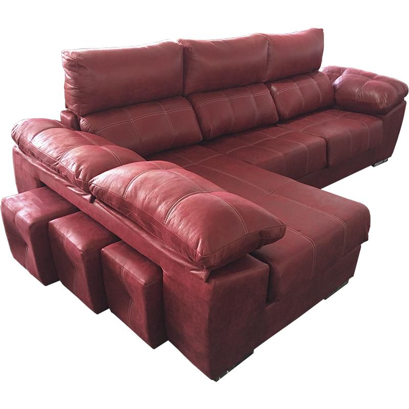 Sofà 3 plazas extensible con chaise longue modelo Fresno reclinable.