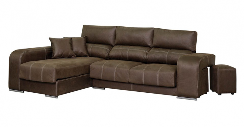 Sofá con asientos deslizantes y cabezales reclinables