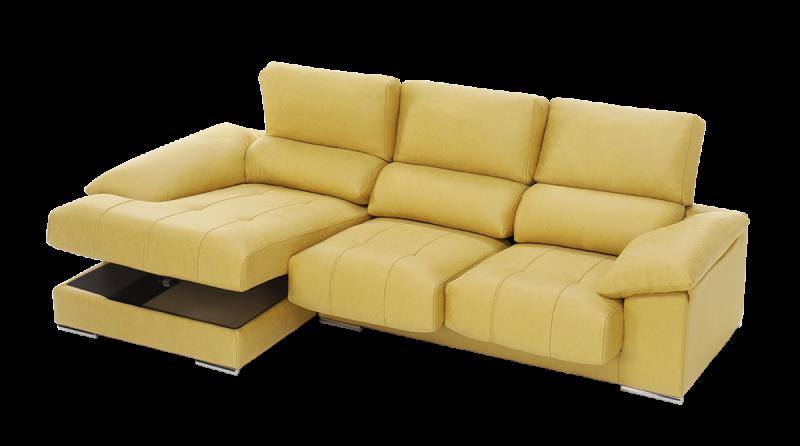 Sofá con chaise longue con arcón live detalle