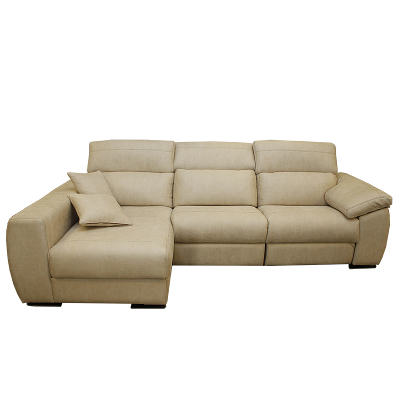 Sofá modelo Galerna, color beige, 3 plazas con chaiselongue