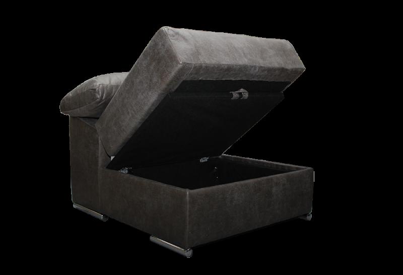 Sofá con puf movible con arcón abierto