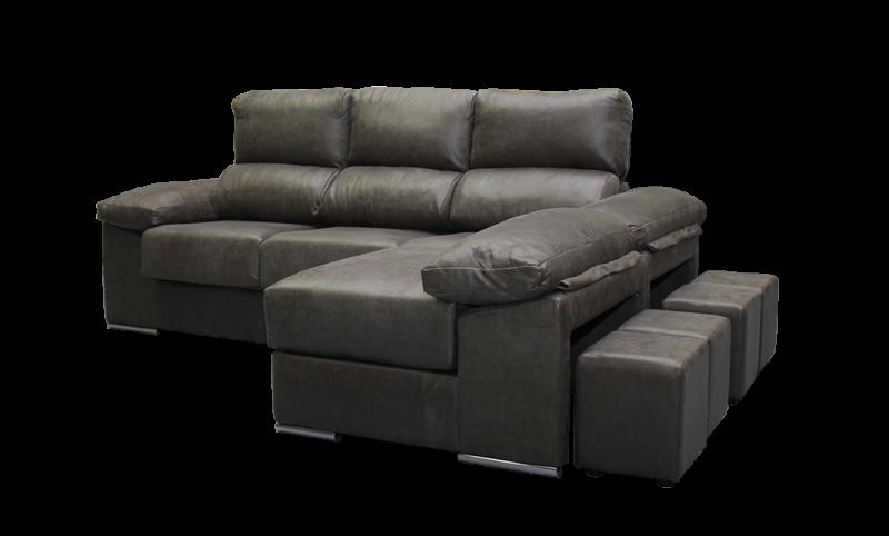 Sofá con puf movible con arcón detalle