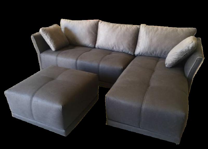 Sofá con puf movible y chaise longue marron