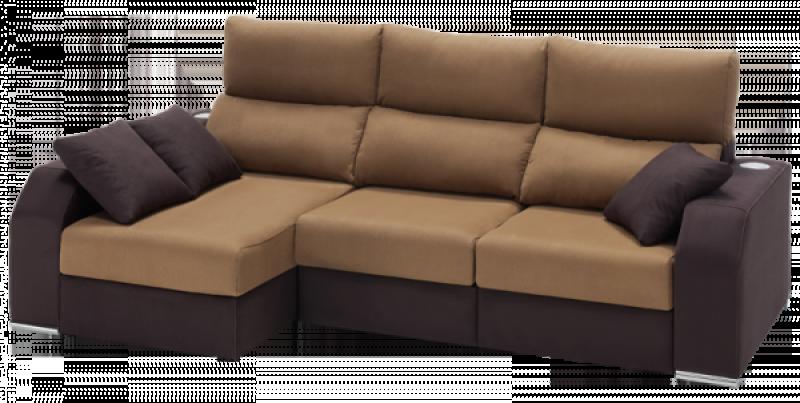 Sofá de líneas rectas con chaiselongue y deslizantes detalle color