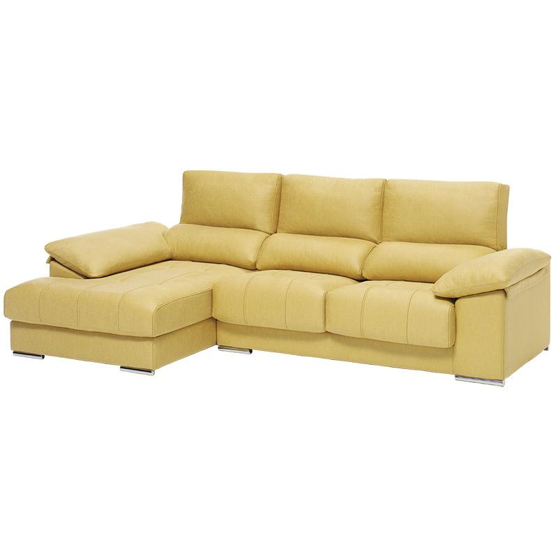 Sofá modelo Live, 3 plazas, color beige con chaise longue con arcón.
