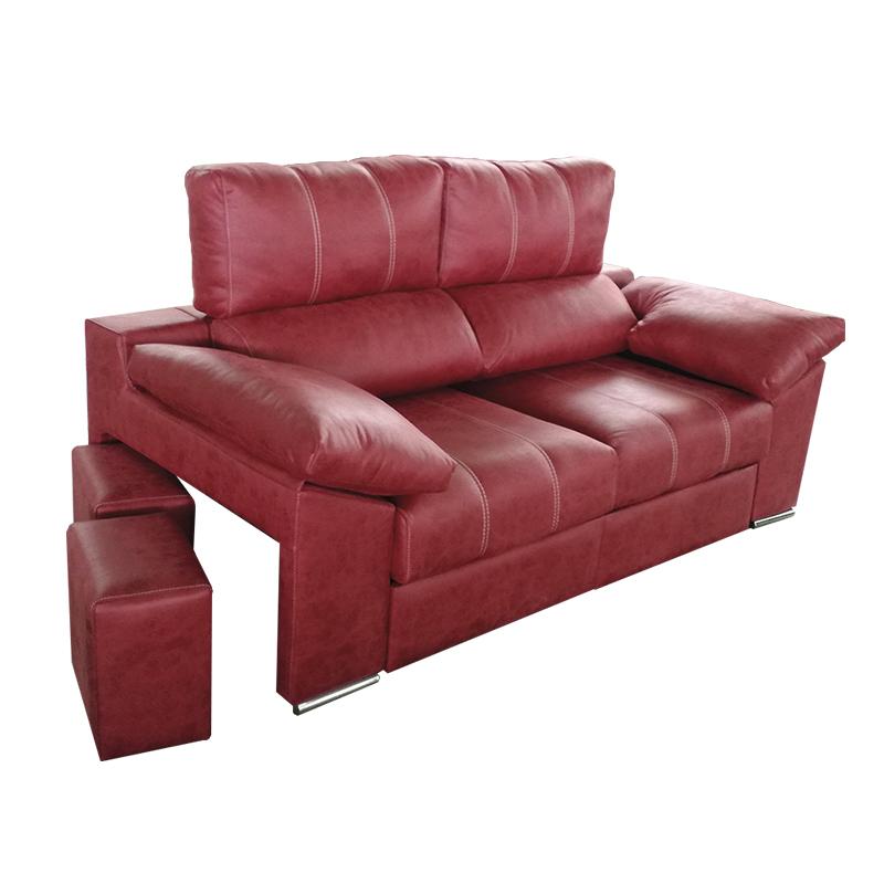 Sofá modelo Montana de color rojo con asientos ocultos en brazo.