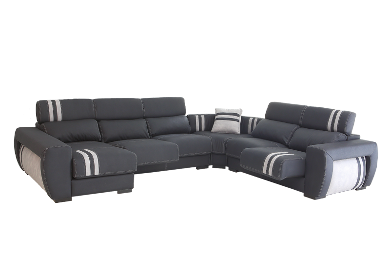 Sofá rinconera con asientos deslizantes y cabezales reclinables