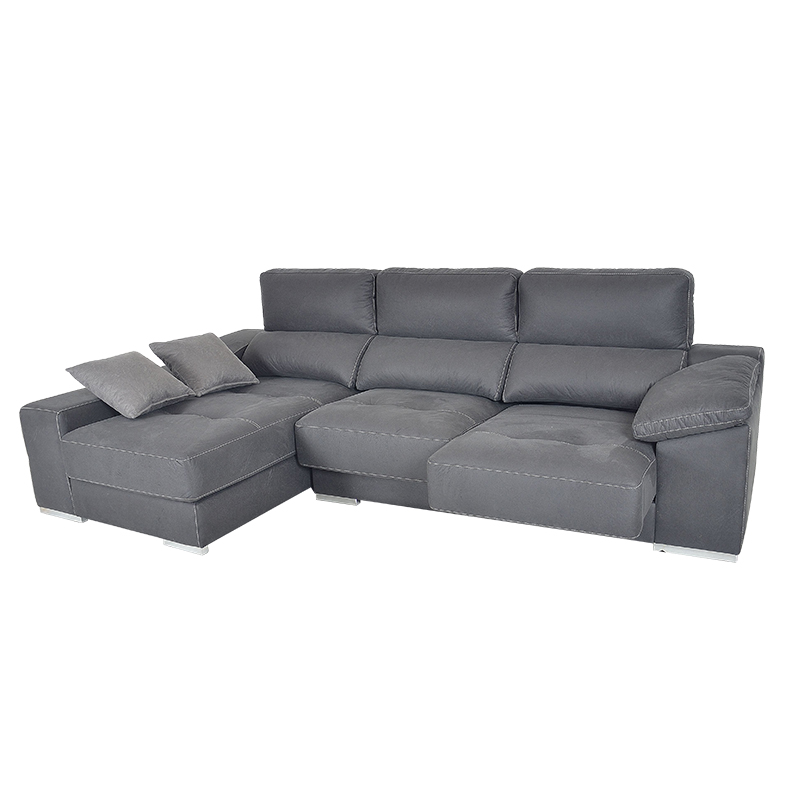 Sofá chaiselong modelo Saboy con cabezal reclinable y asientos deslizantes.