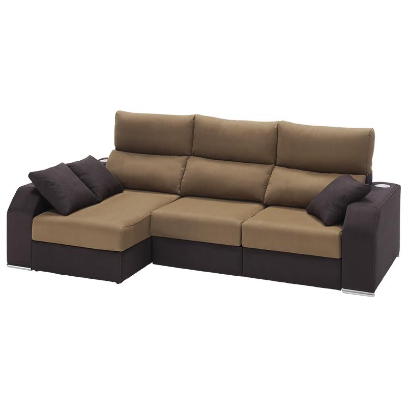 Sofá cheslongue modelo Essence, con cabezal reclinable color tostado.