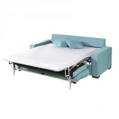 Sofá Cama modelo Eva de color azul cama montada.