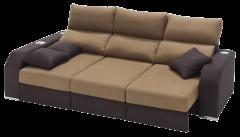 Sofá con chaiselongue y deslizantes marron