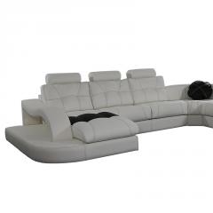 Sofá rinconera modelo Ambar con chaiselongue. Incluye 3 pufs en los brazos, para conseguir color blanco