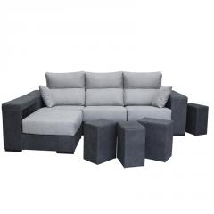 Sofá Cibeles XL con cabezal reclinable y asientos desplegables.