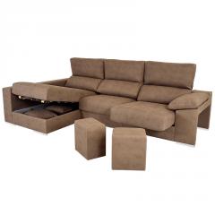 Sofá Chaselongue con patas cuadradas metálicas y los asientos extraíbles y puffs en los brazos